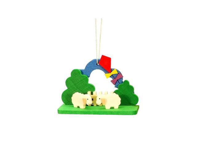 Alexander Taron Christian Ulbricht Ornament - Lambs With Kite - 2H X 2.75W X 1.25D