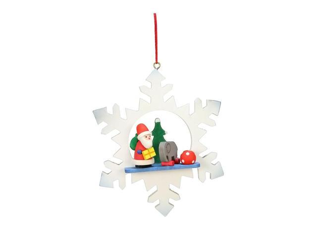 Alexander Taron Home Decoration Christian Ulbricht Ornament - Santa With Toys In Snowflake - 3.5H X 3W X 1D