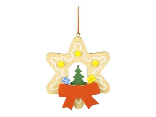 Christian Ulbricht Ornament - Treewith Toys In Gingerbread Star - 3H X 2.5W X .25D