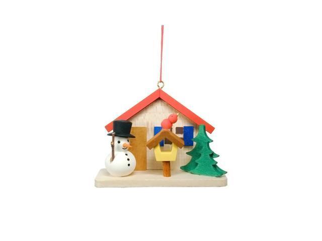 Alexander Taron Christian Ulbricht Ornament - Cottage With Snowman - 2.25H X 2.75W X 1.25D