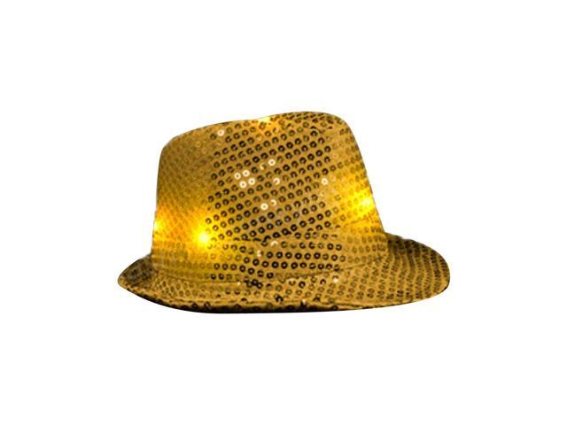 Blinkee Halloween Fashion Party Costume Accessory LED Flashing Fedora Hat With Gold Sequins