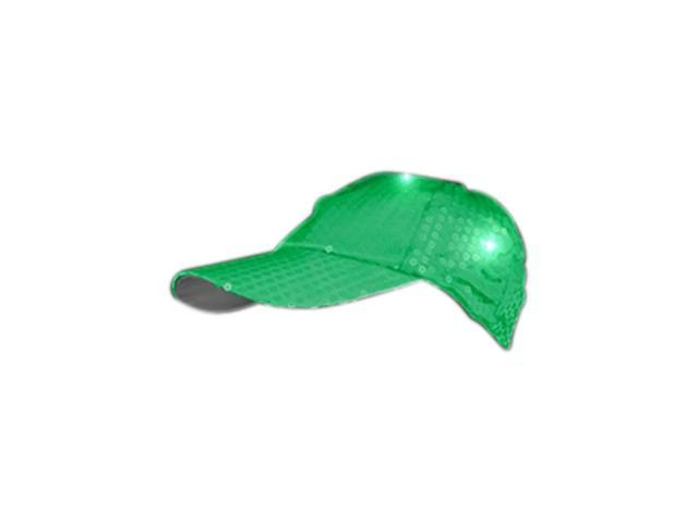 Blinkee Halloween Fashion Party Costume Accessory LED Sequined Baseball Hat Green