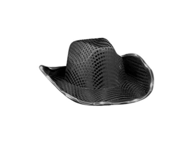 Blinkee Halloween Fashion Party Costume Accessory LED Flashing Cowboy Hat With Black Sequins