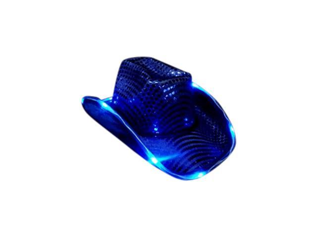 Blinkee Halloween Fashion Seasonal Party Costume Accessory LED Flashing Cowboy Hat With Blue Sequins