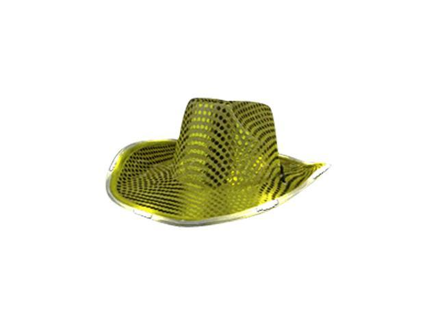 Blinkee Halloween Fashion Seasonal Party Costume Accessory LED Flashing Cowboy Hat With Gold Sequins