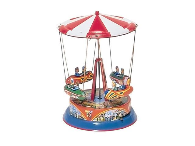 German Collectible Tin Toy - Carousel with Rocket Ships on rods - 7.5