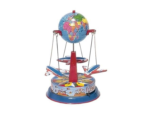 German Collectible Tin Toy - Carousel with Planes - 8