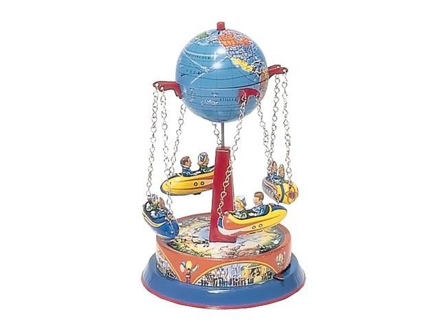 German Collectible Tin Toy - Carousel with Rocket Ships on Chains - 8