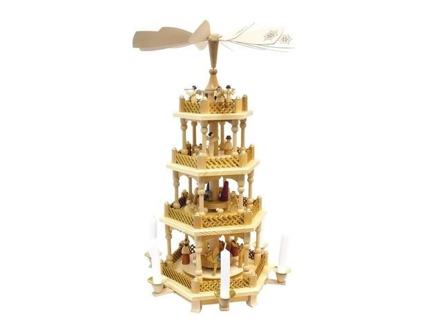 Richard Glaesser Pyramid - 4 tiers - Nativity Scene. Wise Men, Shepherds and Angels - 21