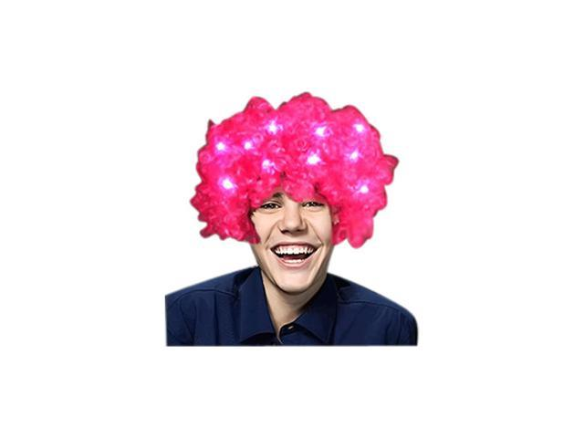 Blinkee Halloween Party Decoratice Costume Accessory Pink Afro Wig with Flashing LEDs