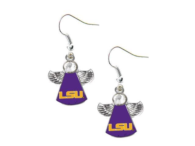 NCAA LSU Tigers Crystal Angel Wing Dangle logo Earring Set