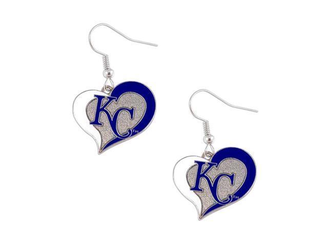MLB Kansas City Royals KC MLB Swirl Heart Dangle Logo Earring Set