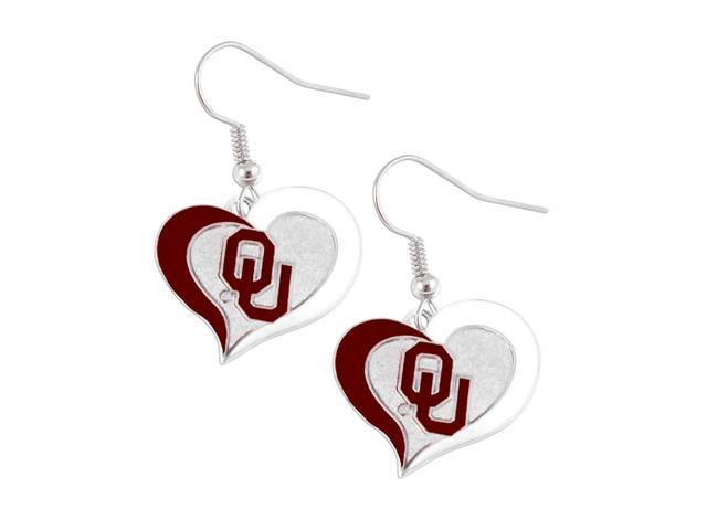 Oklahoma Sooners Swirl Heart Dangle Logo Earring Set Charm Gift NCAA
