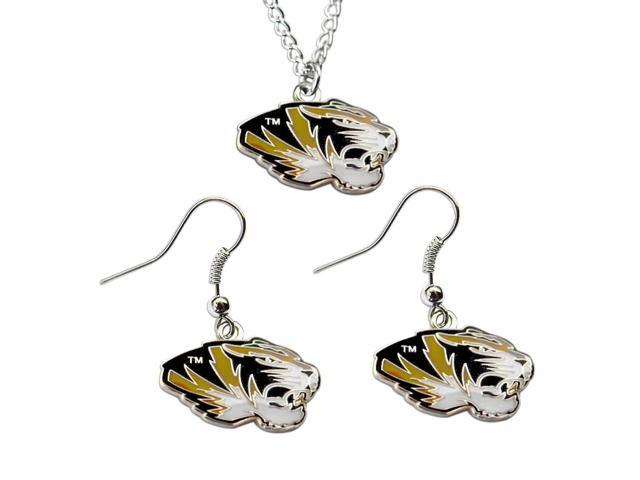 NCAA Missouri Tigers Necklace And Dangle Earring Set Charm