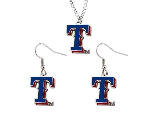 NCAA Texas Rangers Necklace And Dangle Earring Set Charm