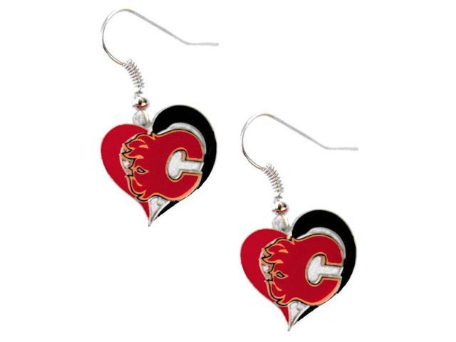 NHL Calgary Flames Swirl Heart Earring Dangle Logo Charm Gift Set