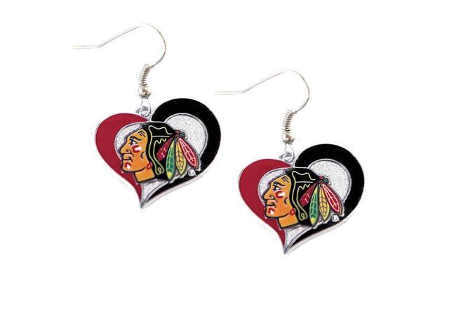 NHL Chicago Blackhawks Swirl Heart Earring Dangle Logo Charm Gift Set