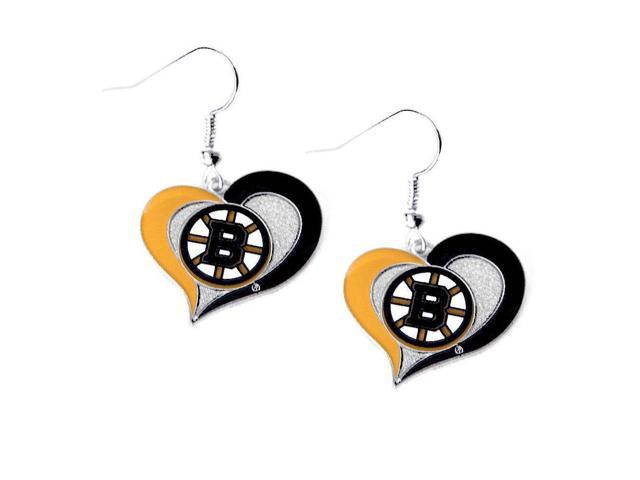 NHL Boston Bruins Swirl Heart Earring Dangle Logo Charm Gift Set