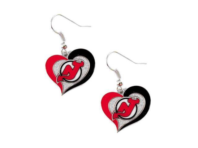 NHL New Jersey Devils Swirl Heart Earring Dangle Logo Charm Gift Set