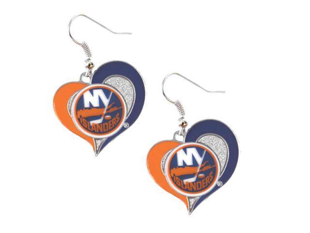 NHL New York Islanders Swirl Heart Earring Dangle Logo Charm Gift Set