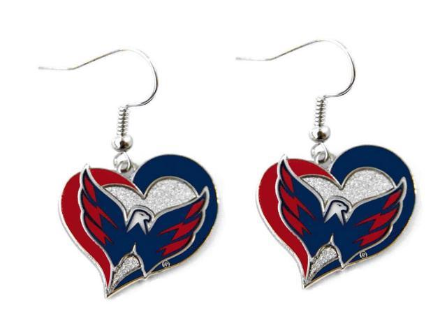 NHL Washington Capitals Swirl Heart Earring Dangle Logo Charm Gift Set