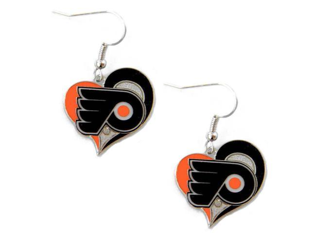NHL Philadelphia Flyers Swirl Heart Earring Dangle Logo Charm Gift Set