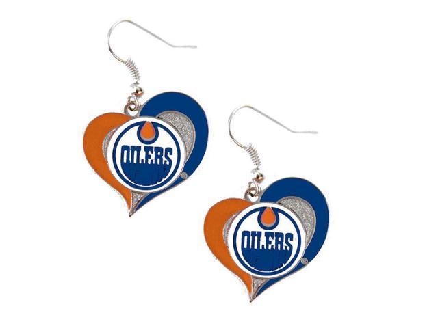 NHL Edmonton Oilers Swirl Heart Earring Dangle Logo Charm Gift Set