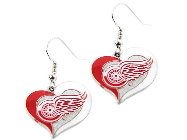 NHL Detroit Red Wings Swirl Heart Earring Dangle Logo Charm Gift Set