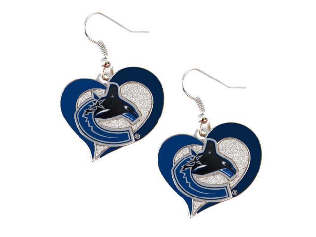 NHL Vancouver Canucks Swirl Heart Earring Dangle Logo Charm Gift Set
