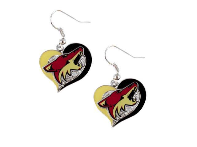 NHL Phoenix Coyotes Swirl Heart Earring Dangle Logo Charm Gift Set