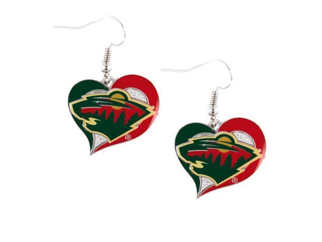NHL Minnesota Wild Swirl Heart Earring Dangle Logo Charm Gift Set
