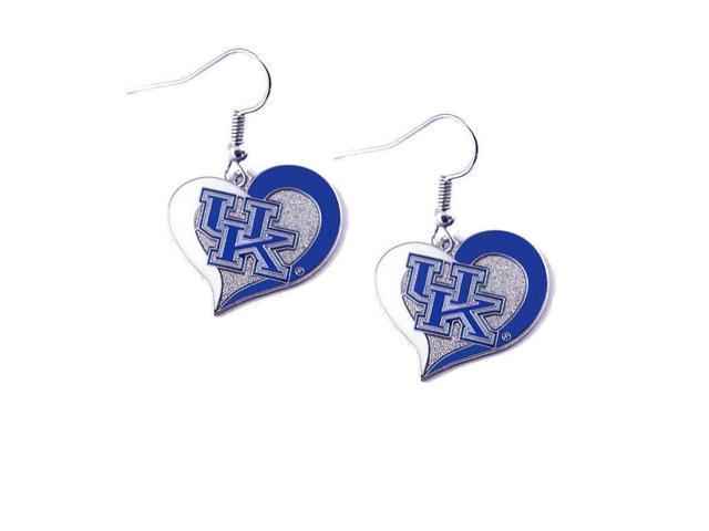Kentucky Wildcats UK Swirl Heart Dangle Logo Earring Set Charm Gift NCAA