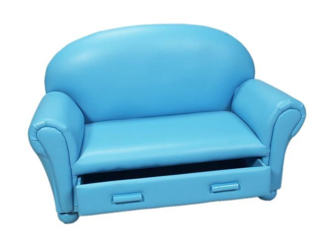 Gift Mark Child's Upholstered Toddler Chaise Lounge With Drawer Blue