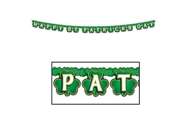 Beistle Party Supplies Shamrock Happy St Patrick's Day Streamer 4 1/4