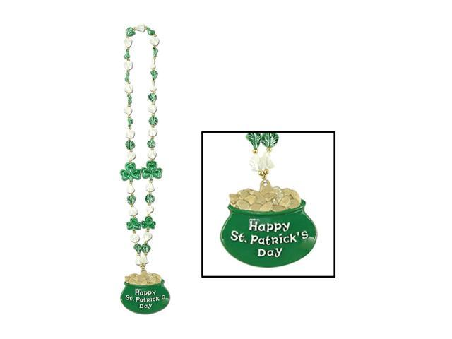 Beistle Home Party Supplies Shamrock Beads with Pot-O-Gold Medallion 39
