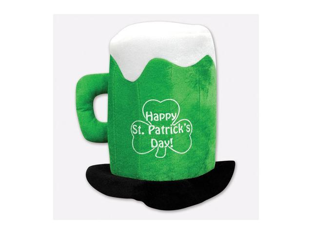 Beistle Home Party Supplies Plush St Patrick's Day Beer Mug Hat