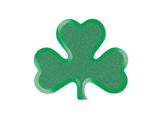 Beistle Home Party Supplies Glittered Foil Shamrock Cutouts 13