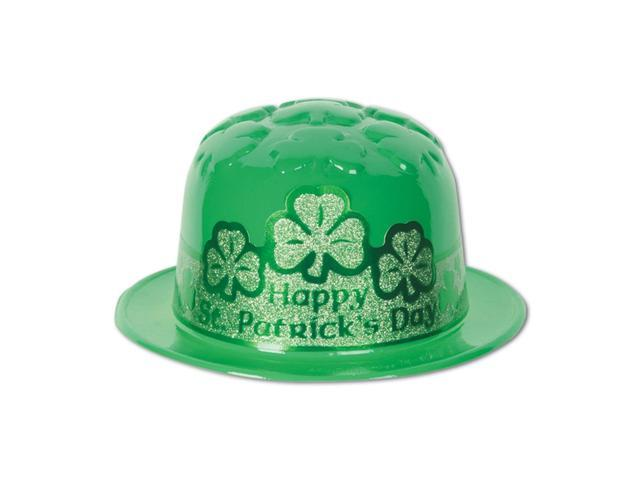 Beistle Home Party Supplies Plastic St Patrick's Day Shamrock Derby With Glittered Band
