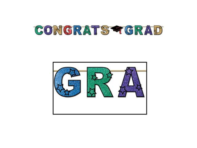 Beistle Home Party Supplies Glittered Congrats Grad Streamer 8 1/2