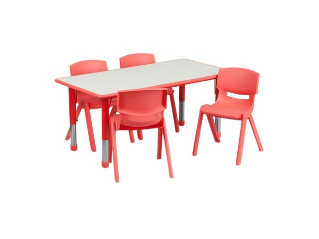 Flash Furniture 23.625''W x 47.25''L Adjustable Rectangular Red Plastic Activity Table Set with 4 School Stack Chairs [YU-YCY-060-0034-RECT-TBL-RED-GG]