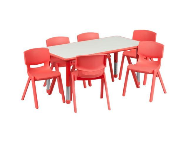 Flash Furniture 23.625''W x 47.25''L Adjustable Rectangular Red Plastic Activity Table Set with 6 School Stack Chairs [YU-YCY-060-0036-RECT-TBL-RED-GG]