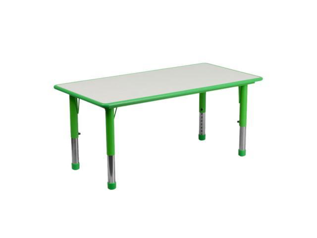 Flash Furniture 23.625''W x 47.25''L Height Adjustable Rectangular Green Plastic Activity Table with Grey Top [YU-YCY-060-RECT-TBL-GREEN-GG]