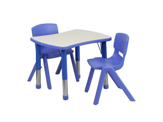Flash Furniture 21.875''W x 26.625''L Adjustable Rectangular Blue Plastic Activity Table Set with 2 School Stack Chairs [YU-YCY-098-0032-RECT-TBL-BLUE-GG]