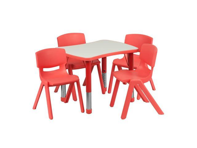 Flash Furniture 21.875''W x 26.625''L Adjustable Rectangular Red Plastic Activity Table Set with 4 School Stack Chairs [YU-YCY-098-0034-RECT-TBL-RED-GG]