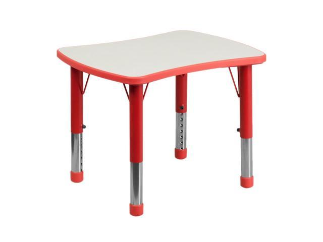 Flash Furniture 21.875''W x 26.625''L Height Adjustable Rectangular Red Plastic Activity Table with Grey Top [YU-YCY-098-RECT-TBL-RED-GG]