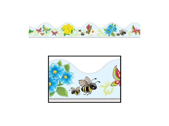 Beistle Home Festival Party Supplies Butterflies & Flowers Border Trim 37' Total (12 Ct)