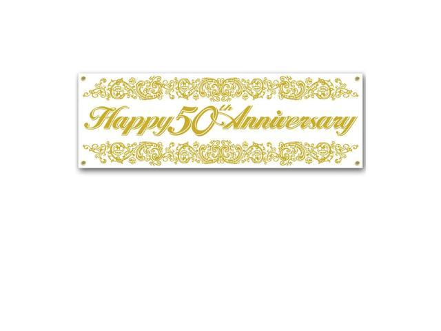 Beistle Home Festival Party Supplies 50th Anniversary Sign Banner 5' x 21