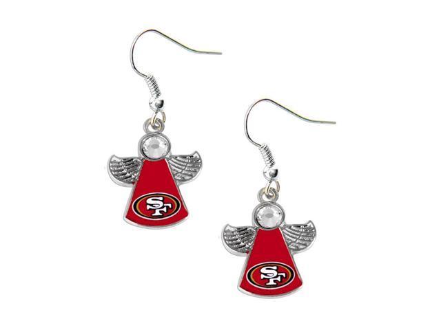 NFL SAN Fransisco 49ers Crystal Angel Wings Dangle Logo Earring Set Charm Gift