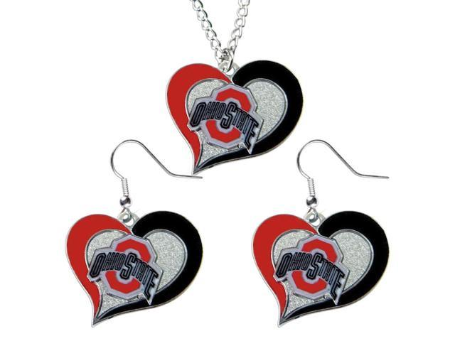NCAA Ohio State Buckeyes Swirl Heart Pendant Necklace And Earring Set Charm Gift