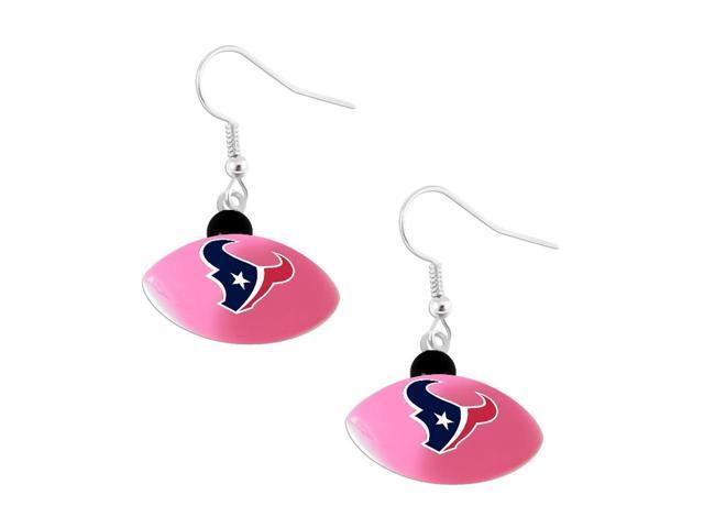 Houstan Texans NFL Sports Team Logo Mini Football Dangle Earring Charm Jewelry Pendant Pink